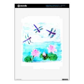 Dragonfly, Lily Flowers Pond Painting iPad 3 Decal