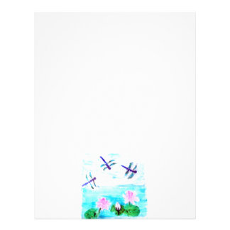 Dragonfly, Lily Flowers Pond Painting Letterhead