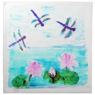 Dragonfly, Lily Flowers Pond Painting Napkin