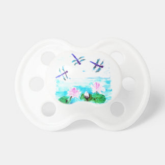 Dragonfly, Lily Flowers Pond Painting Pacifier