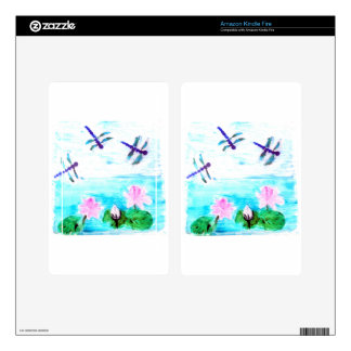 Dragonfly, Lily Flowers Pond Painting Decal For Kindle Fire