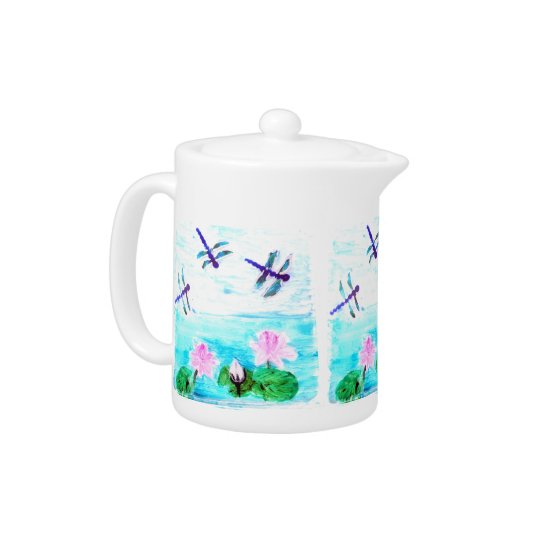 Dragonfly, Lily Flowers Pond Painting Teapot