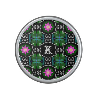 Dragonfly lily pad abstract pattern personalizable bluetooth speaker