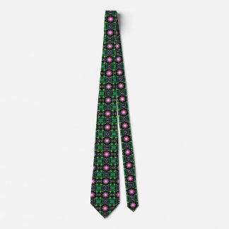 Dragonfly lily pad abstract pattern personalizable neck tie