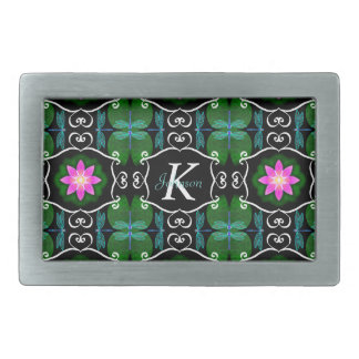 Dragonfly lily pad abstract pattern personalizable rectangular belt buckle