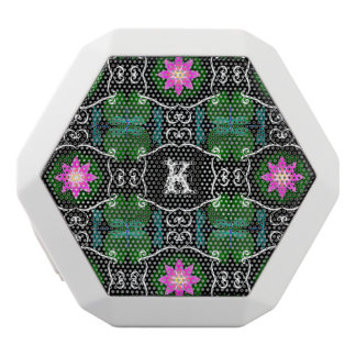 Dragonfly lily pad abstract pattern personalizable white bluetooth speaker