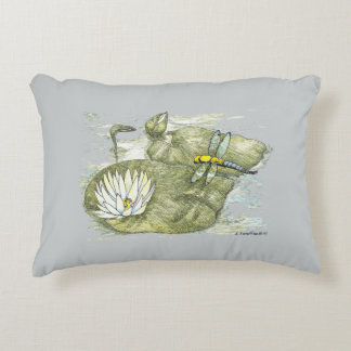 Dragonfly & Lily Pad Brushed Poly Throw Pillow