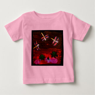 Dragonfly Lily Pond Abstract Art Baby T-Shirt