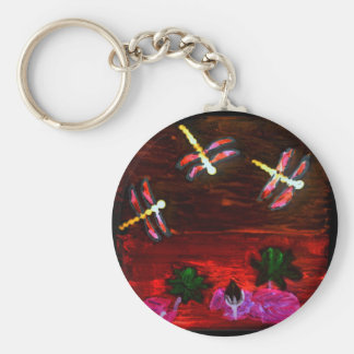 Dragonfly Lily Pond Abstract Art Basic Round Button Keychain
