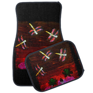 Dragonfly Lily Pond Abstract Art Car Mat