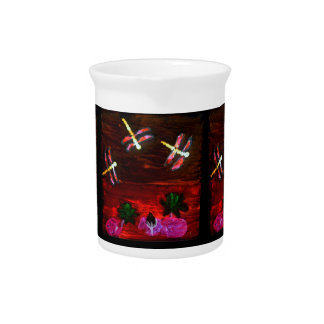 Dragonfly Lily Pond Abstract Art Drink Pitcher