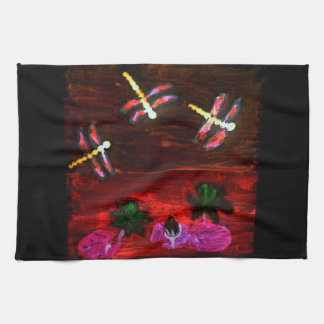 Dragonfly Lily Pond Abstract Art Hand Towel