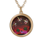Dragonfly Lily Pond Abstract Art Pendants