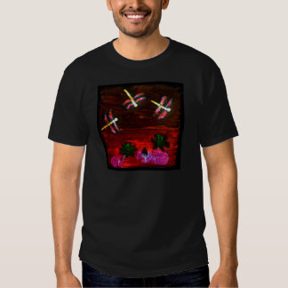 Dragonfly Lily Pond Abstract Art T-Shirt