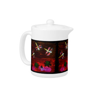 Dragonfly Lily Pond Abstract Art Teapot