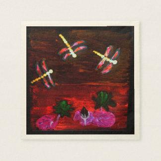 Dragonfly Lily Pond Art Paper Napkin