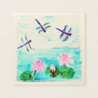 Dragonfly Lily Pond Flowers painting Napkin