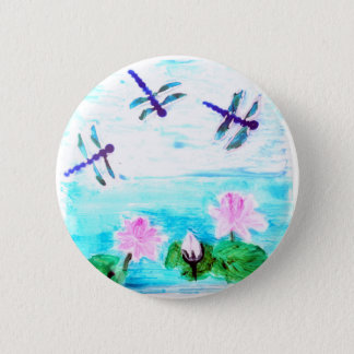 Dragonfly, Lily Pond Painting Pinback Button