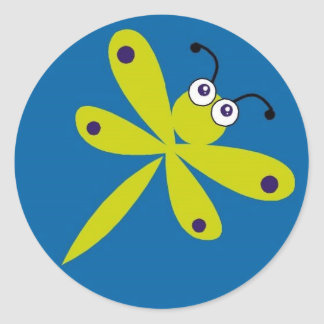 Dragonfly [lime + blue] classic round sticker