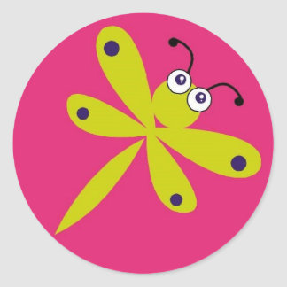 Dragonfly [lime + pink] classic round sticker