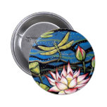 DRAGONFLY LOTUS 2 INCH ROUND BUTTON