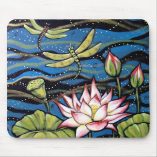 DRAGONFLY LOTUS MOUSE PAD