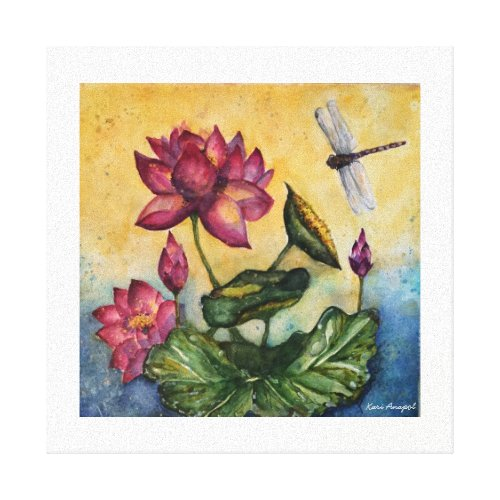 Dragonfly Lotus Watercolor Print Wrapped Canvas