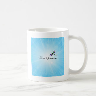 """Dragonfly  """"LOVE is Forever"""" Classic White Coffee Mug"""