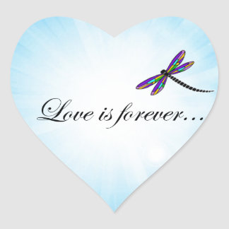 """Dragonfly  """"LOVE is Forever"""" Heart Sticker"""