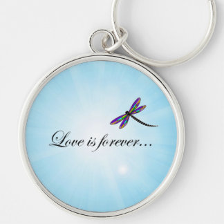 """Dragonfly  """"LOVE is Forever"""" Keychain"""