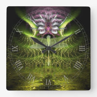 Dragonfly Magic Fractal Art Wall Clock