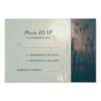 dragonfly marsh and full moon wedding RSVP 3.5x5 Paper Invitation Card