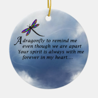 Dragonfly  Memorial Poem Ceramic Ornament