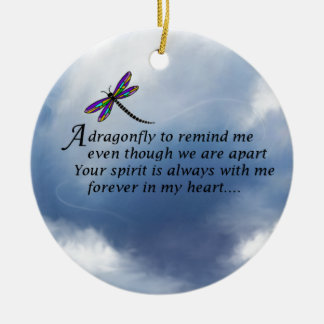 Dragonfly  Memorial Poem Double-Sided Ceramic Round Christmas Ornament
