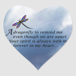 Dragonfly  Memorial Poem Heart Sticker