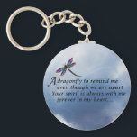 """Dragonfly  Memorial Poem Keychain<br><div class=""""desc"""">Losing a loved one is never easy. Some BELIEVE that our loved ones will send us signs to let us know they are still with us in spirit. &quot;Always In Our Heart&quot; gift store offers a beautiful line of sympathy gifts and memorial keepsakes to keep their memory alive... ... .....</div>"""