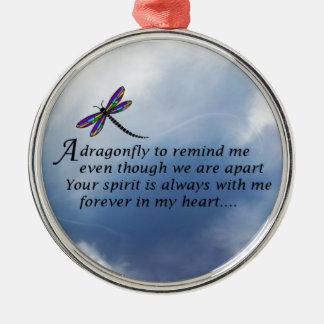 Dragonfly  Memorial Poem Metal Ornament