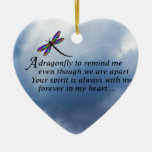 Dragonfly  Memorial Poem Double-Sided Heart Ceramic Christmas Ornament