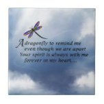 """Dragonfly  Memorial Poem Tile<br><div class=""""desc"""">Losing a loved one is never easy. Some BELIEVE that our loved ones will send us signs to let us know they are still with us in spirit. &quot;Always In Our Heart&quot; gift store offers a beautiful line of sympathy gifts and memorial keepsakes to keep their memory alive... ... .....</div>"""