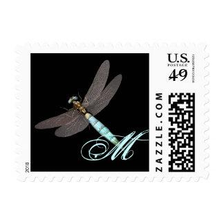Dragonfly Monogram Business Postage Stamp
