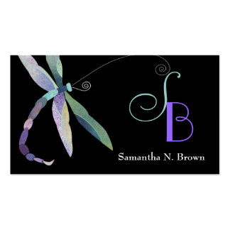 Dragonfly Monogram Custom Business Cards
