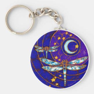 dragonfly moon basic round button keychain