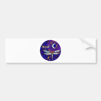 dragonfly moon car bumper sticker