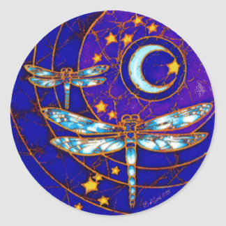 dragonfly moon classic round sticker