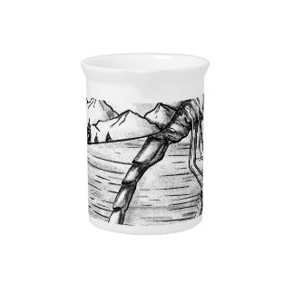 Dragonfly  Mountain inside Wings Tattoo Drink Pitcher