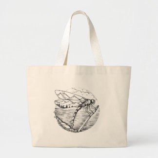 Dragonfly  Mountain inside Wings Tattoo Large Tote Bag