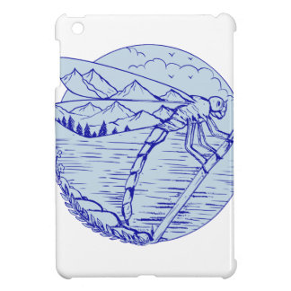 Dragonfly Mountains In Wings Drawing iPad Mini Cover