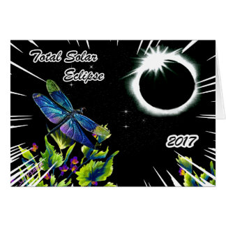 Dragonfly Observing the Total Solar Eclipse 2017 Card
