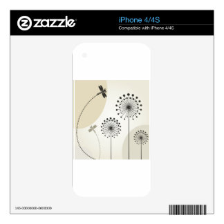 Dragonfly on a flower skin for iPhone 4