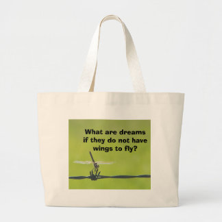 dragonfly on barbwire, What are dreams if they ... Large Tote Bag